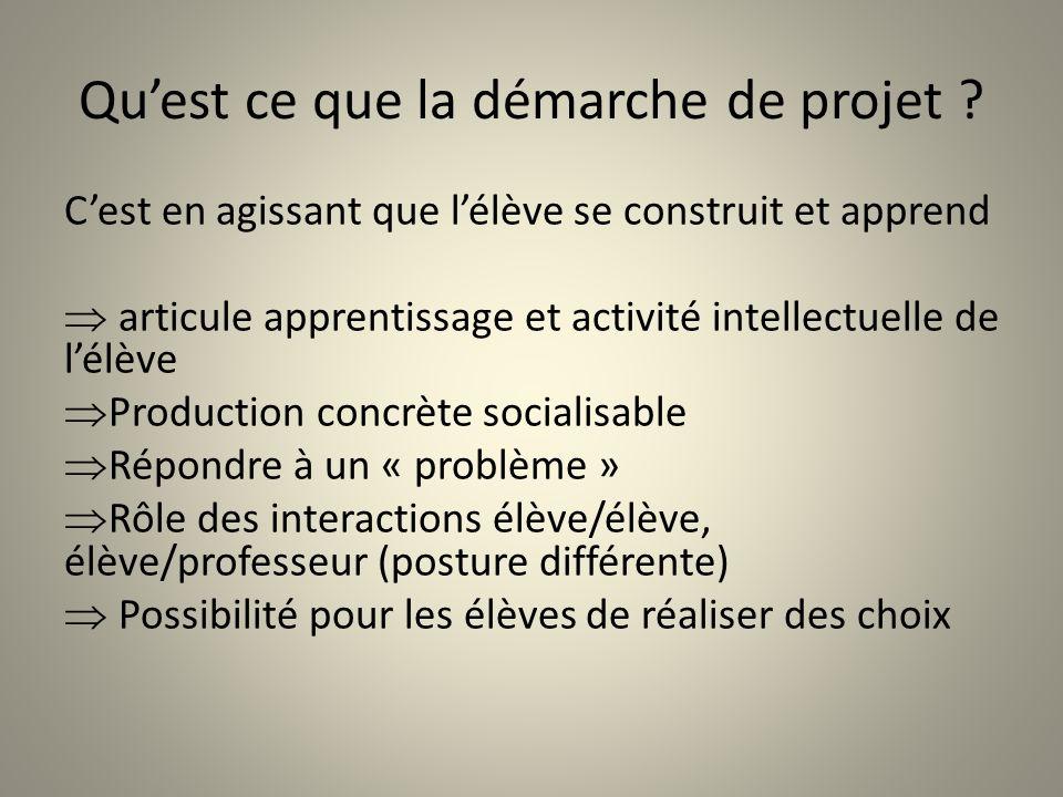 Quest ce que la démarche de projet ? Cest en agissant que lélève se construit et apprend articule apprentissage et activité intellectuelle de lélève P