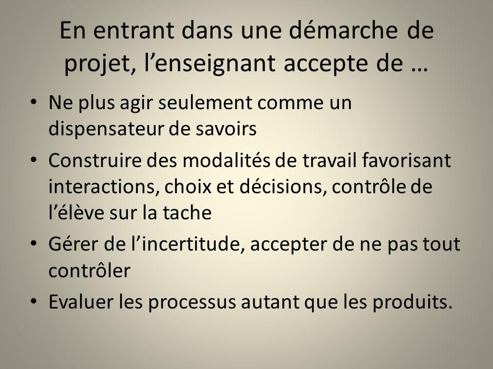 En entrant dans une démarche de projet, lenseignant accepte de … Ne plus agir seulement comme un dispensateur de savoirs Construire des modalités de t