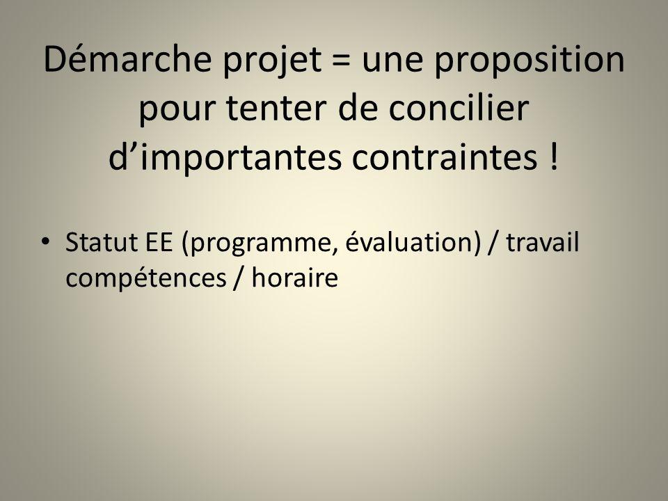Démarche projet = une proposition pour tenter de concilier dimportantes contraintes ! Statut EE (programme, évaluation) / travail compétences / horair
