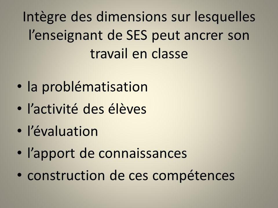 Intègre des dimensions sur lesquelles lenseignant de SES peut ancrer son travail en classe la problématisation lactivité des élèves lévaluation lappor