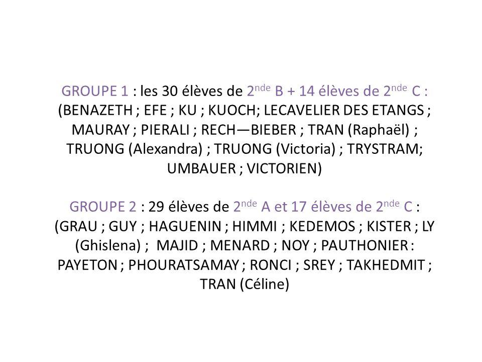 GROUPE 1 : les 30 élèves de 2 nde B + 14 élèves de 2 nde C : (BENAZETH ; EFE ; KU ; KUOCH; LECAVELIER DES ETANGS ; MAURAY ; PIERALI ; RECHBIEBER ; TRAN (Raphaël) ; TRUONG (Alexandra) ; TRUONG (Victoria) ; TRYSTRAM; UMBAUER ; VICTORIEN) GROUPE 2 : 29 élèves de 2 nde A et 17 élèves de 2 nde C : (GRAU ; GUY ; HAGUENIN ; HIMMI ; KEDEMOS ; KISTER ; LY (Ghislena) ; MAJID ; MENARD ; NOY ; PAUTHONIER : PAYETON ; PHOURATSAMAY ; RONCI ; SREY ; TAKHEDMIT ; TRAN (Céline)