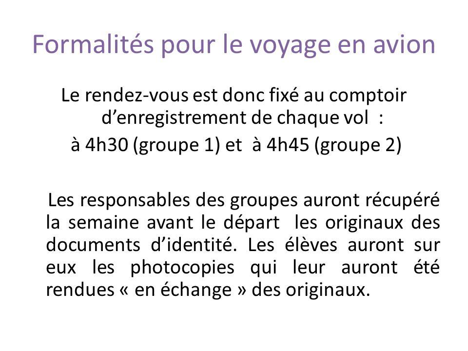 Formalités pour le voyage en avion Le rendez-vous est donc fixé au comptoir denregistrement de chaque vol : à 4h30 (groupe 1) et à 4h45 (groupe 2) Les responsables des groupes auront récupéré la semaine avant le départ les originaux des documents didentité.