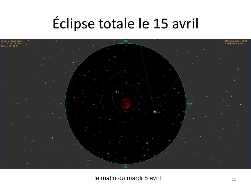 Éclipse totale le 15 avril 15 le matin du mardi 5 avril