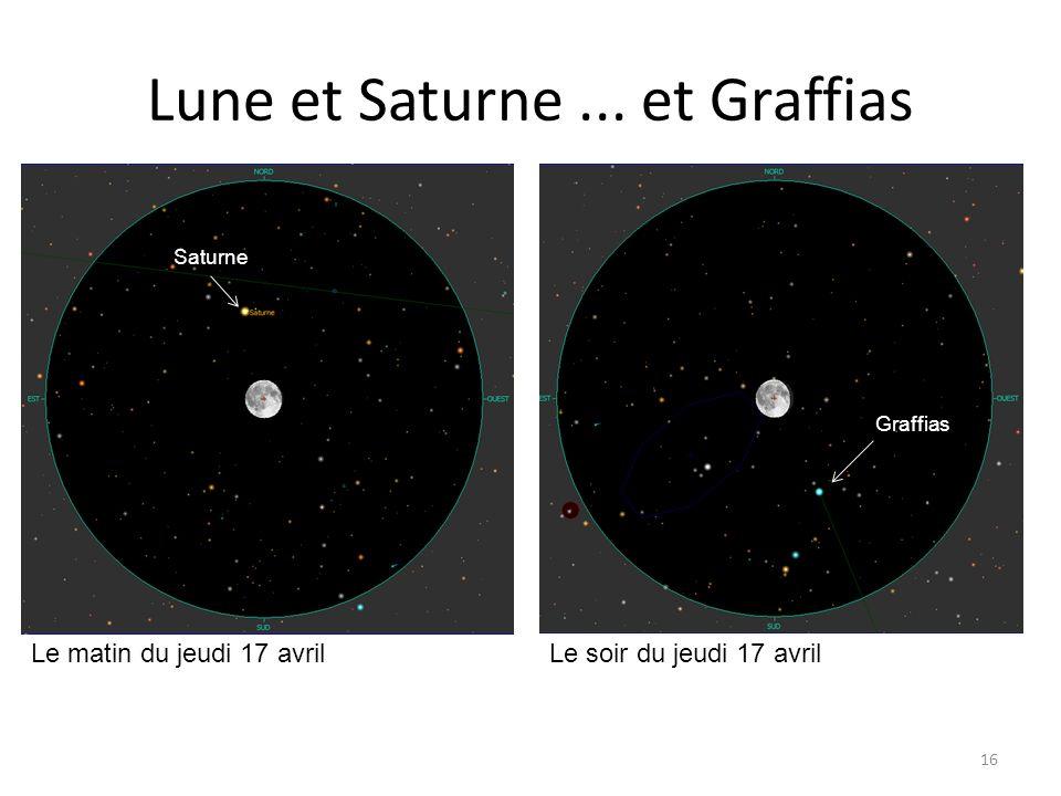 Lune et Saturne... et Graffias 16 petit croissant Mercure Le matin du jeudi 17 avril Epsilon Psc Le soir du jeudi 17 avril Saturne Graffias