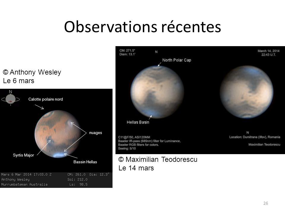 Observations récentes 26 © Anthony Wesley Le 6 mars © Maximilian Teodorescu Le 14 mars Calotte polaire nord Bassin Hellas Syrtis Major nuages