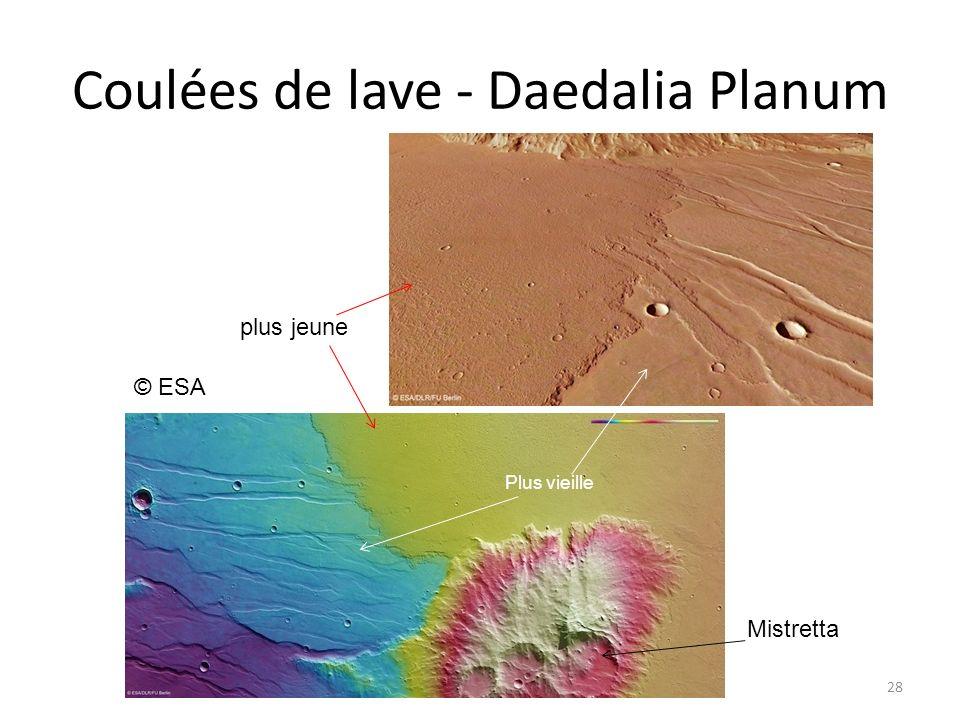 Coulées de lave - Daedalia Planum 28 plus jeune Plus vieille Mistretta © ESA