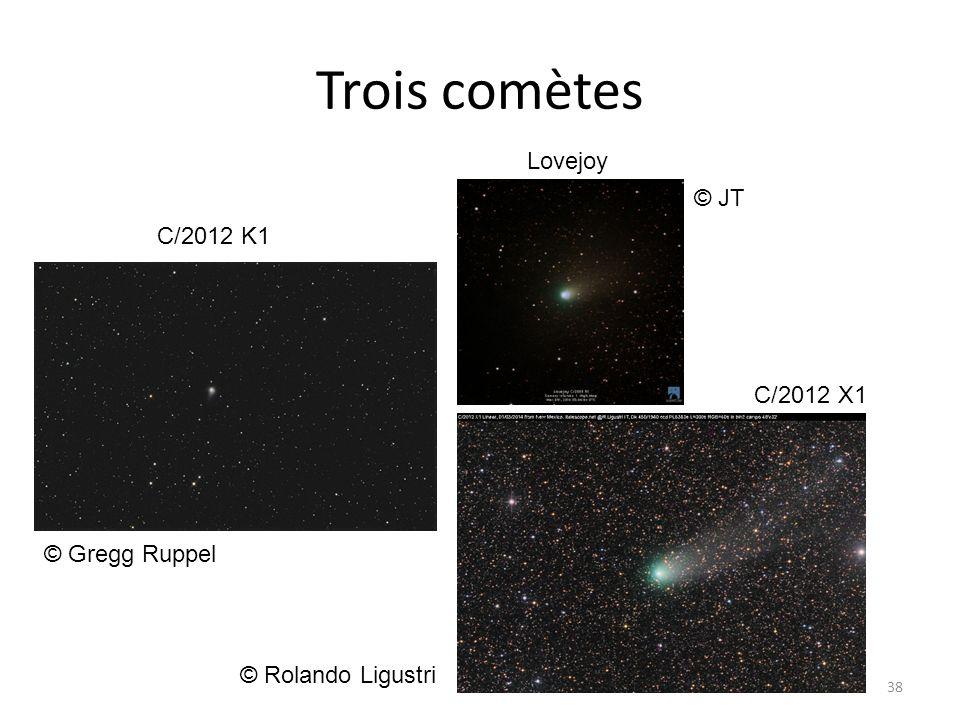 Trois comètes 38 © Rolando Ligustri Lovejoy C/2012 X1 C/2012 K1 © Gregg Ruppel © JT