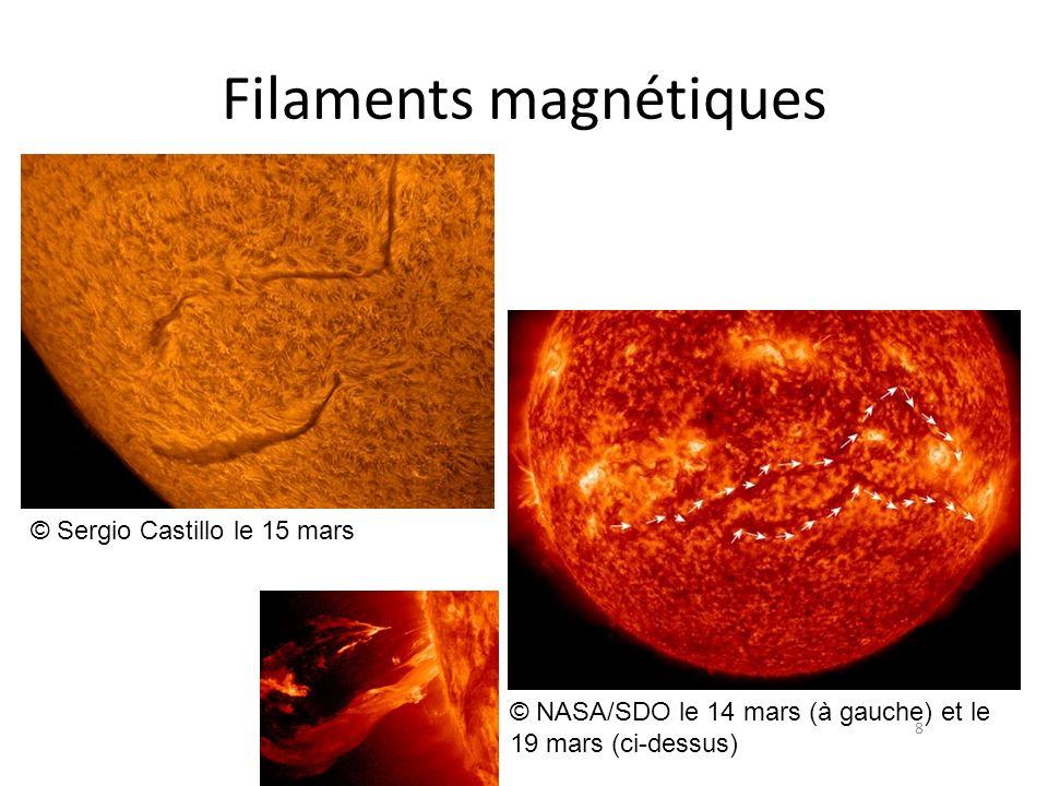 Filaments magnétiques 8 © NASA/SDO le 14 mars (à gauche) et le 19 mars (ci-dessus) © Sergio Castillo le 15 mars