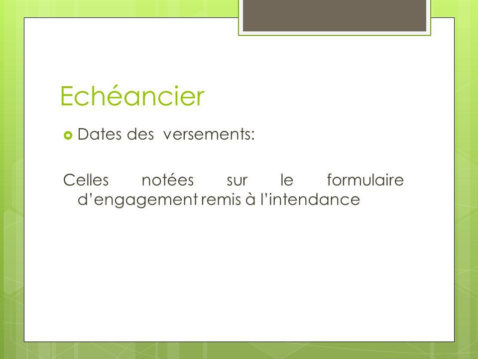 Echéancier Dates des versements: Celles notées sur le formulaire dengagement remis à lintendance