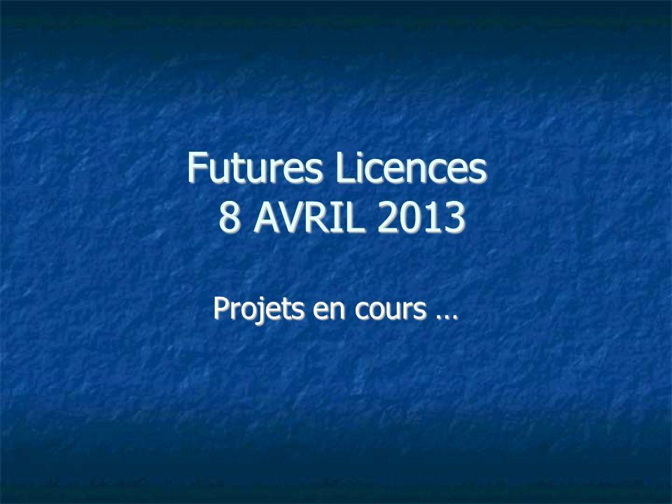 Futures Licences 8 AVRIL 2013 Projets en cours …