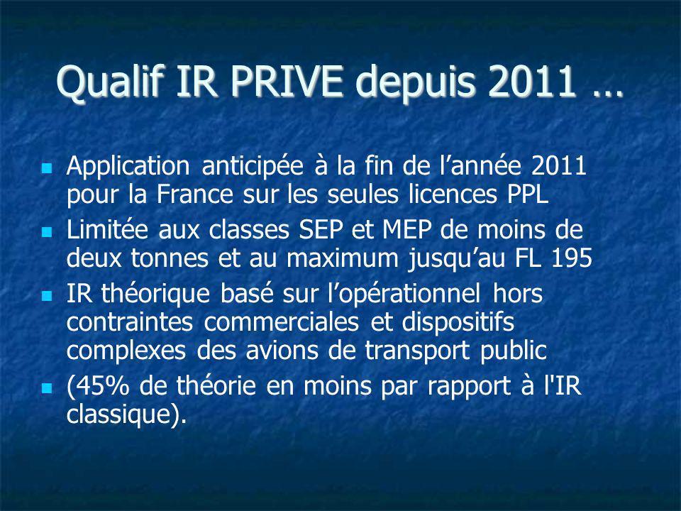 Qualif IR PRIVE depuis 2011 … Application anticipée à la fin de lannée 2011 pour la France sur les seules licences PPL Limitée aux classes SEP et MEP