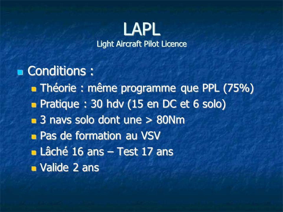 Privilèges : Privilèges : Monomoteurs MTOW < 2 T Monomoteurs MTOW < 2 T Emport de pax après 10 hdv CDB (Automatique ou vol d autorisation) Emport de pax après 10 hdv CDB (Automatique ou vol d autorisation) 3 pax maxi à bord 3 pax maxi à bord Accès aux variantes, classes et types Accès aux variantes, classes et types Passerelle vers le PPL Passerelle vers le PPL Demande de convertir en qualif les autorisations additionnelles obtenues (voltige, remorquage, VFR nuit, montagne) Demande de convertir en qualif les autorisations additionnelles obtenues (voltige, remorquage, VFR nuit, montagne) LAPL Light Aircraft Pilot Licence