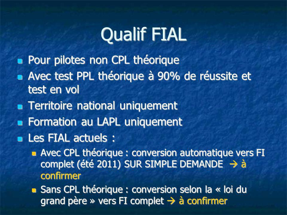 Qualif FIAL Pour pilotes non CPL théorique Pour pilotes non CPL théorique Avec test PPL théorique à 90% de réussite et test en vol Avec test PPL théor