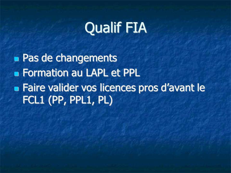 Qualif FIA Pas de changements Pas de changements Formation au LAPL et PPL Formation au LAPL et PPL Faire valider vos licences pros davant le FCL1 (PP,