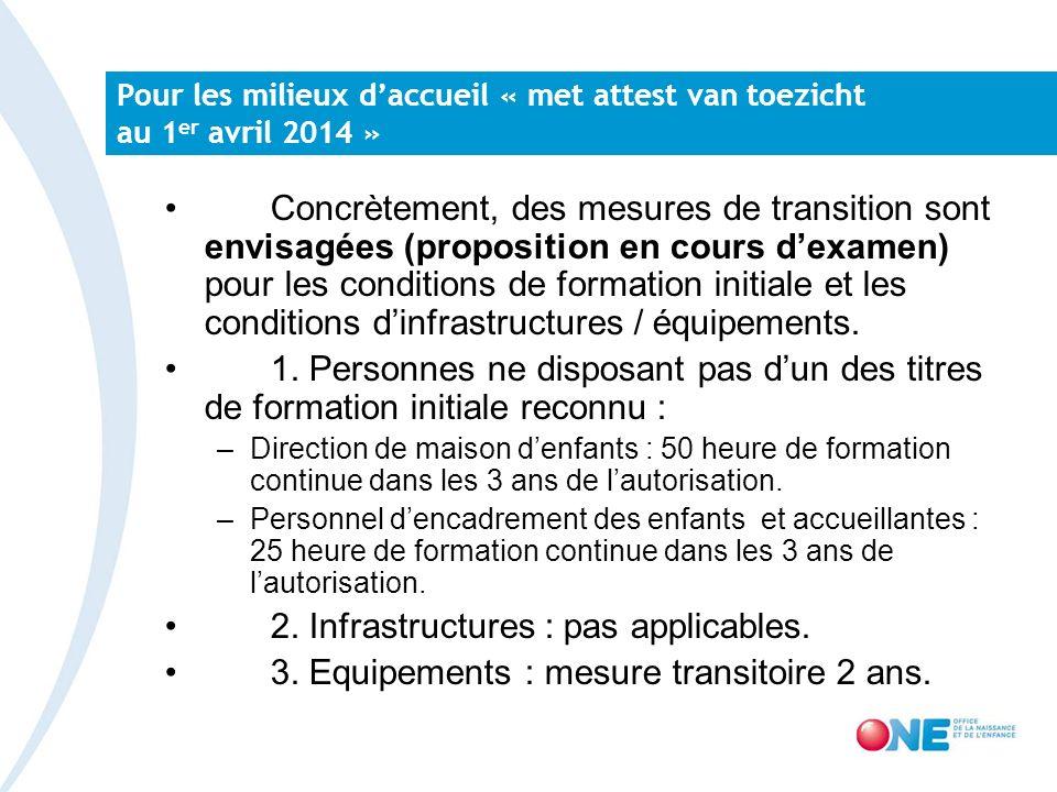 Pour les milieux daccueil « met attest van toezicht au 1 er avril 2014 » Concrètement, des mesures de transition sont envisagées (proposition en cours dexamen) pour les conditions de formation initiale et les conditions dinfrastructures / équipements.