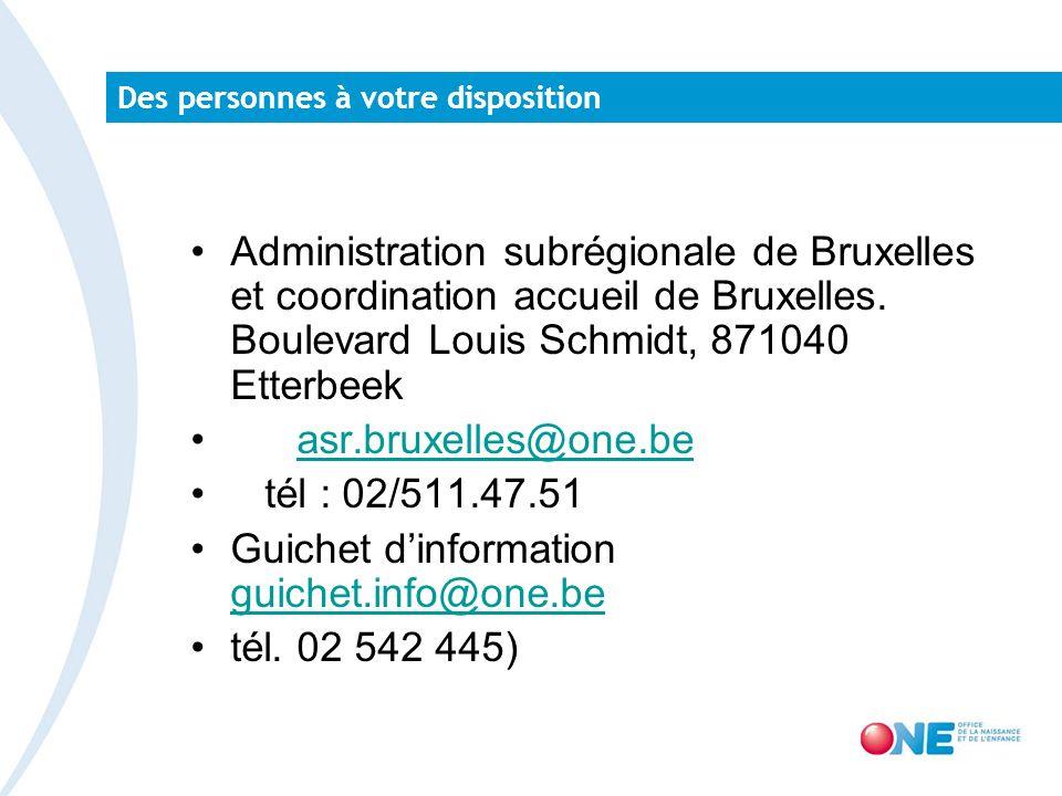 Des personnes à votre disposition Administration subrégionale de Bruxelles et coordination accueil de Bruxelles.