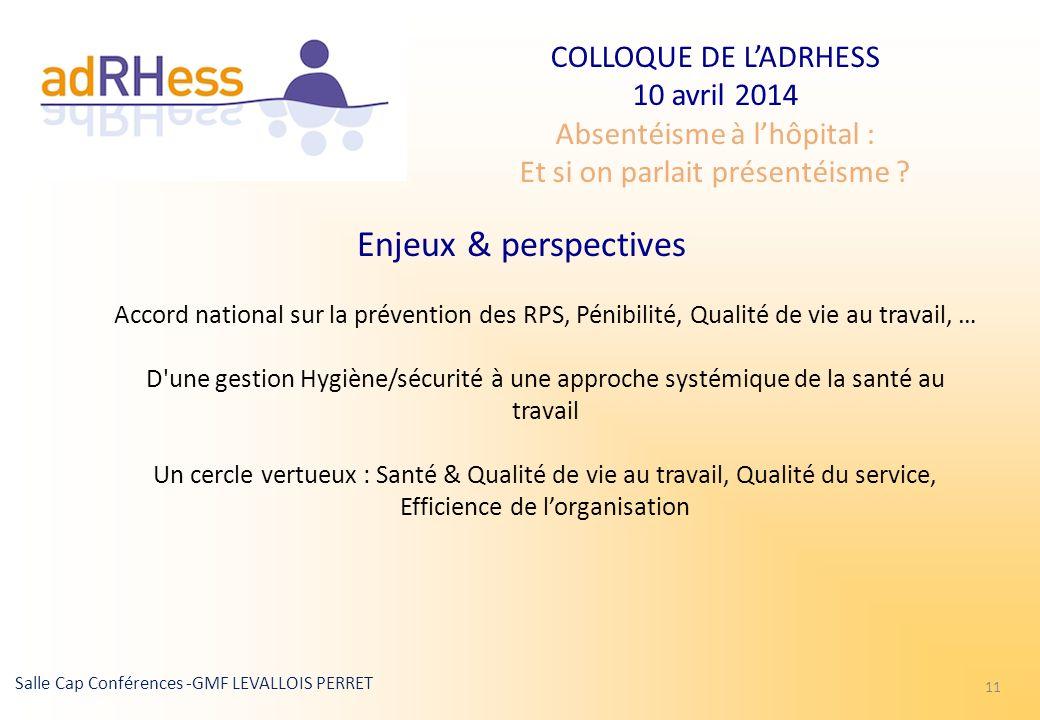 COLLOQUE DE LADRHESS 10 avril 2014 Absentéisme à lhôpital : Et si on parlait présentéisme ? Salle Cap Conférences -GMF LEVALLOIS PERRET 11 Enjeux & pe