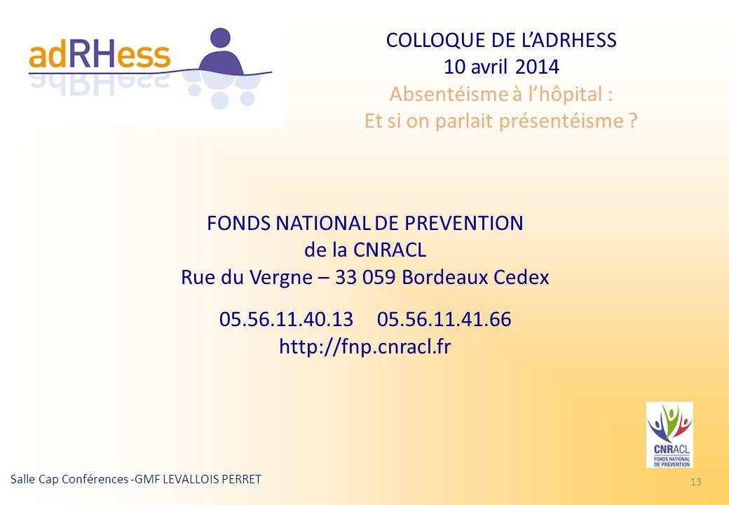 COLLOQUE DE LADRHESS 10 avril 2014 Absentéisme à lhôpital : Et si on parlait présentéisme ? Salle Cap Conférences -GMF LEVALLOIS PERRET 13 FONDS NATIO