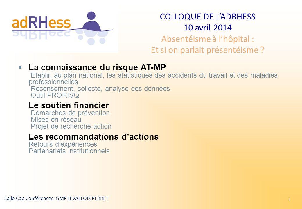 COLLOQUE DE LADRHESS 10 avril 2014 Absentéisme à lhôpital : Et si on parlait présentéisme ? Salle Cap Conférences -GMF LEVALLOIS PERRET 5 La connaissa