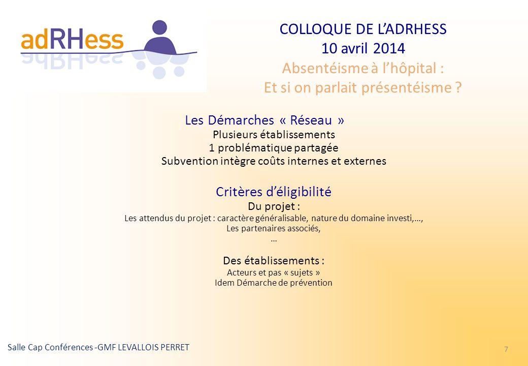 COLLOQUE DE LADRHESS 10 avril 2014 Absentéisme à lhôpital : Et si on parlait présentéisme ? Salle Cap Conférences -GMF LEVALLOIS PERRET 7 Les Démarche