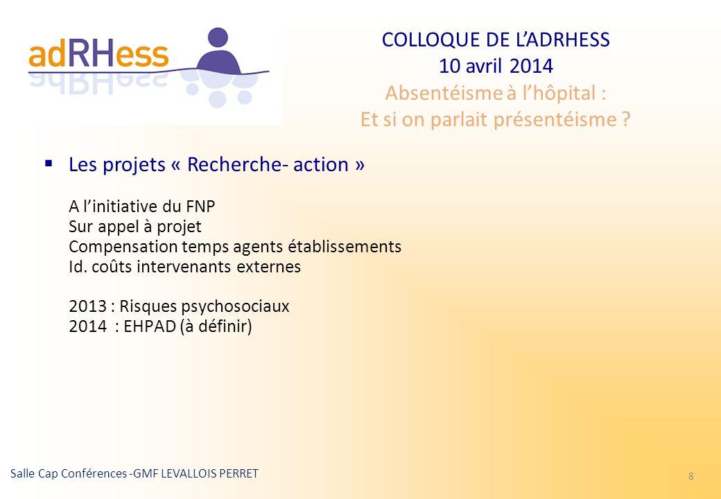 COLLOQUE DE LADRHESS 10 avril 2014 Absentéisme à lhôpital : Et si on parlait présentéisme ? Salle Cap Conférences -GMF LEVALLOIS PERRET 8 Les projets