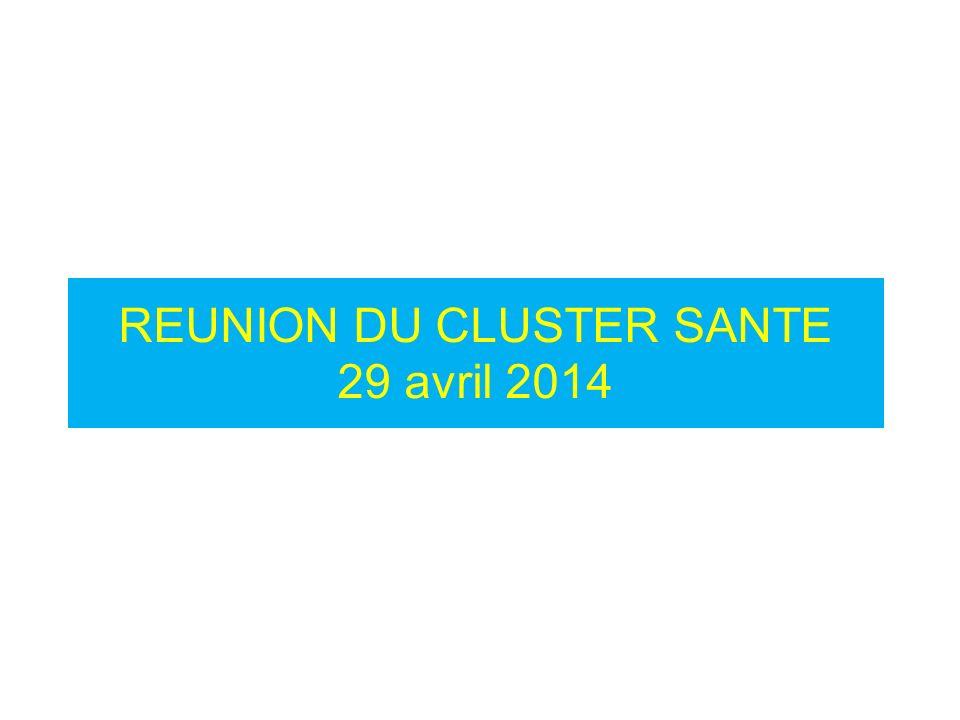 Agenda de la réunion du Cluster Santé du 29/04 2014 18/05/20142 1.