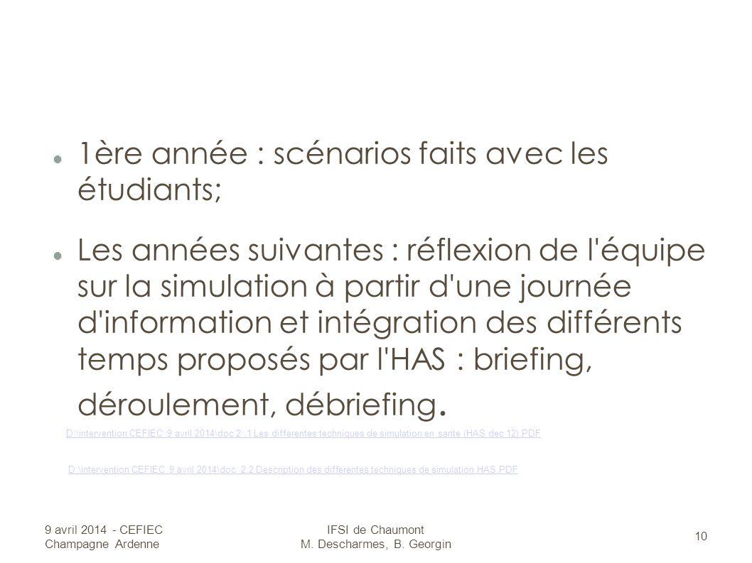 1ère année : scénarios faits avec les étudiants; Les années suivantes : réflexion de l équipe sur la simulation à partir d une journée d information et intégration des différents temps proposés par l HAS : briefing, déroulement, débriefing.
