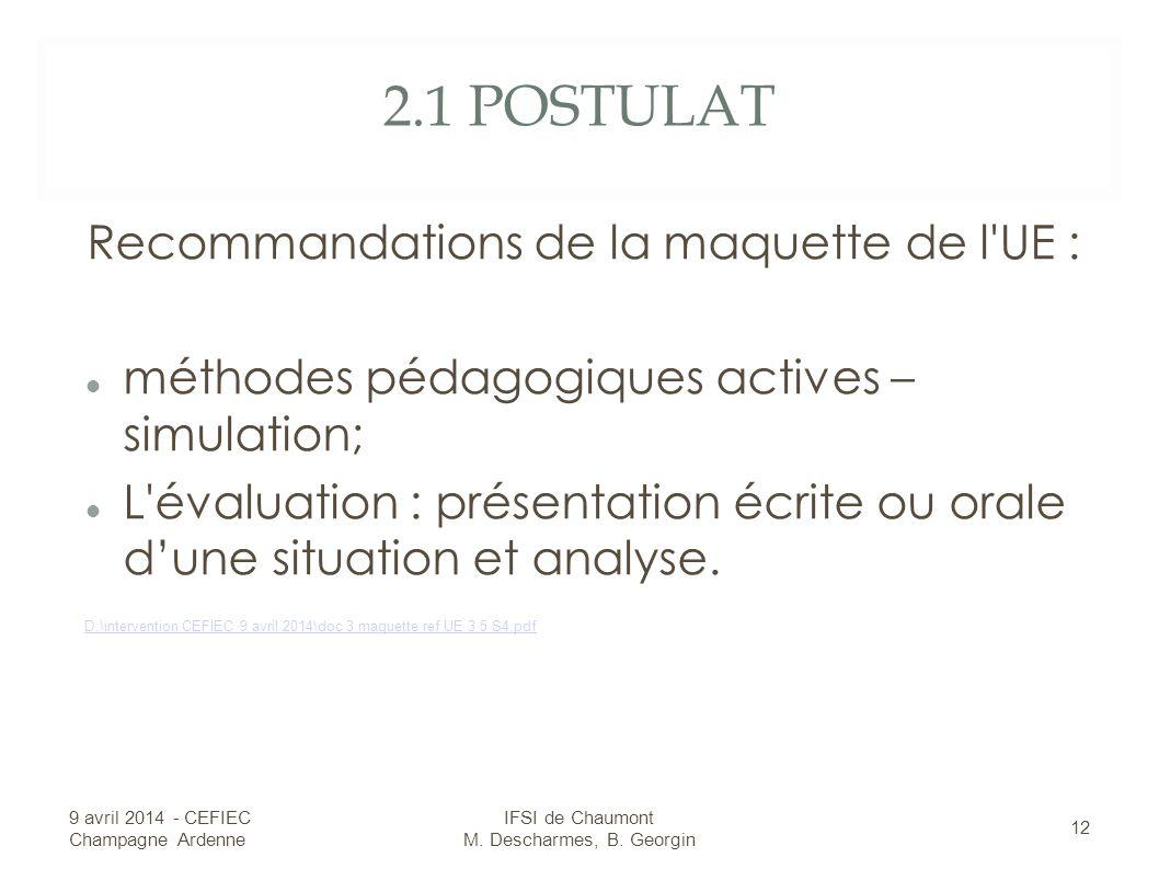 2.1 POSTULAT Recommandations de la maquette de l UE : méthodes pédagogiques actives – simulation; L évaluation : présentation écrite ou orale dune situation et analyse.
