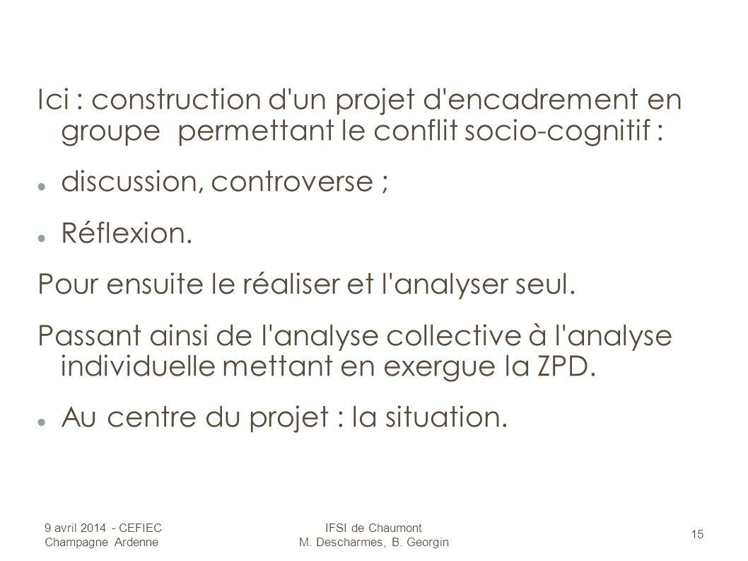 Ici : construction d un projet d encadrement en groupe permettant le conflit socio-cognitif : discussion, controverse ; Réflexion.