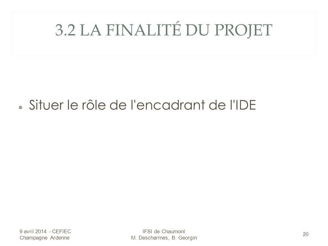 3.2 LA FINALITÉ DU PROJET Situer le rôle de l encadrant de l IDE 9 avril 2014 - CEFIEC Champagne Ardenne 20 IFSI de Chaumont M.