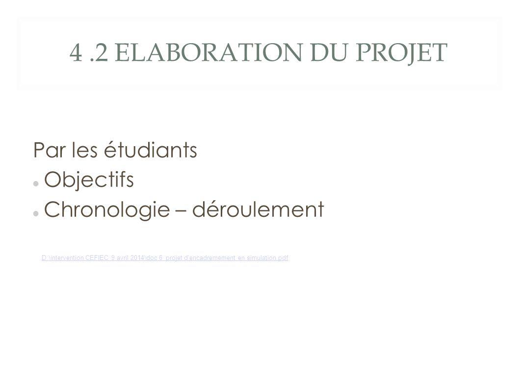 4.2 ELABORATION DU PROJET Par les étudiants Objectifs Chronologie – déroulement D:\intervention CEFIEC 9 avril 2014\doc 6 projet d encadremement en simulation.pdf