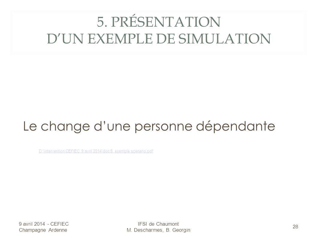 5. PRÉSENTATION DUN EXEMPLE DE SIMULATION Le change dune personne dépendante 9 avril 2014 - CEFIEC Champagne Ardenne 28 IFSI de Chaumont M. Descharmes