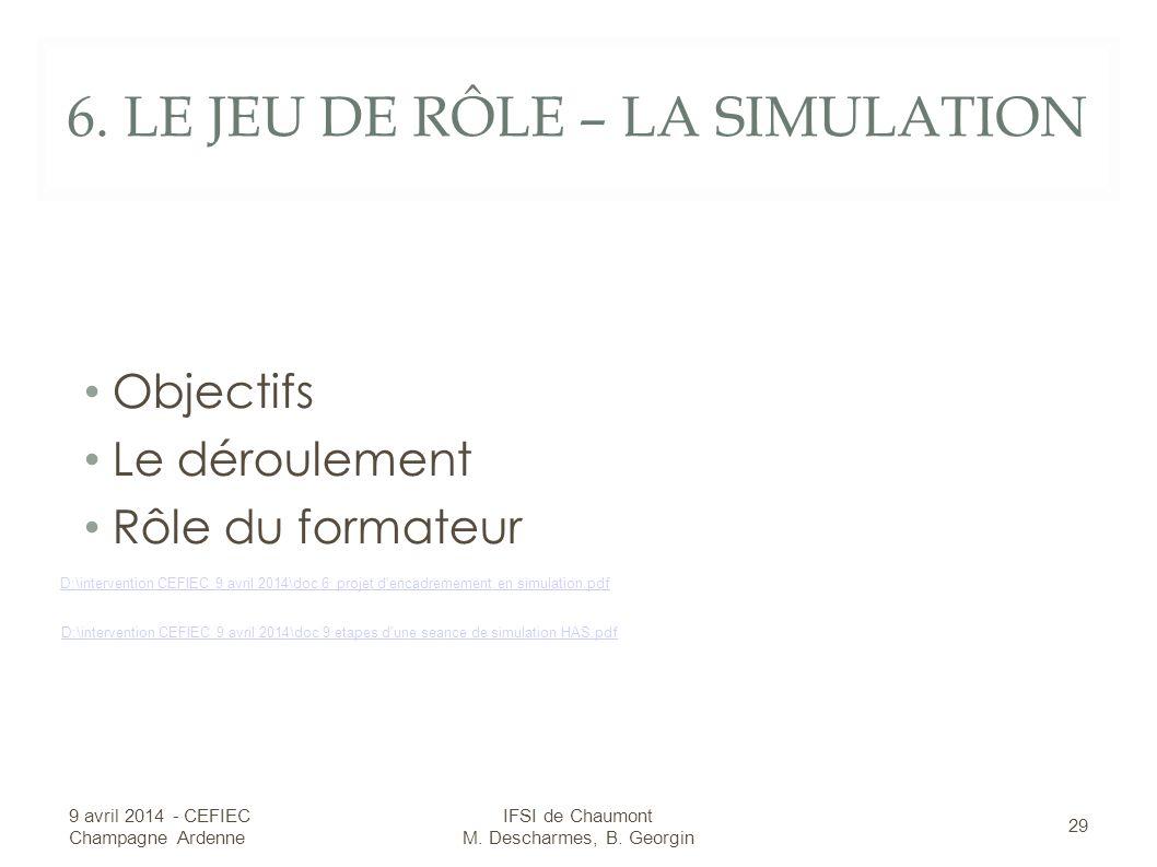 6. LE JEU DE RÔLE – LA SIMULATION Objectifs Le déroulement Rôle du formateur 9 avril 2014 - CEFIEC Champagne Ardenne 29 IFSI de Chaumont M. Descharmes