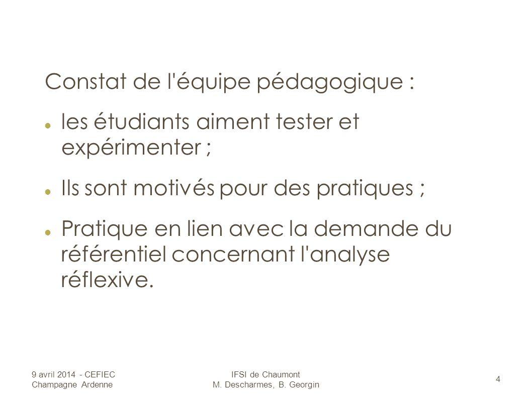 Constat de l équipe pédagogique : les étudiants aiment tester et expérimenter ; Ils sont motivés pour des pratiques ; Pratique en lien avec la demande du référentiel concernant l analyse réflexive.