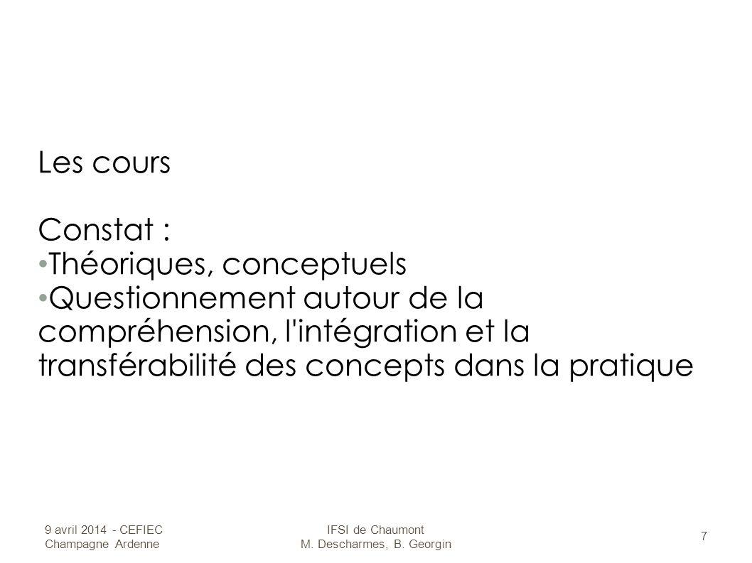 Les cours Constat : Théoriques, conceptuels Questionnement autour de la compréhension, l intégration et la transférabilité des concepts dans la pratique 9 avril 2014 - CEFIEC Champagne Ardenne IFSI de Chaumont M.
