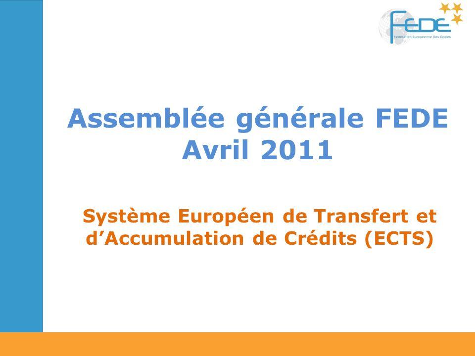 Assemblée générale FEDE Avril 2011 Système Européen de Transfert et dAccumulation de Crédits (ECTS)