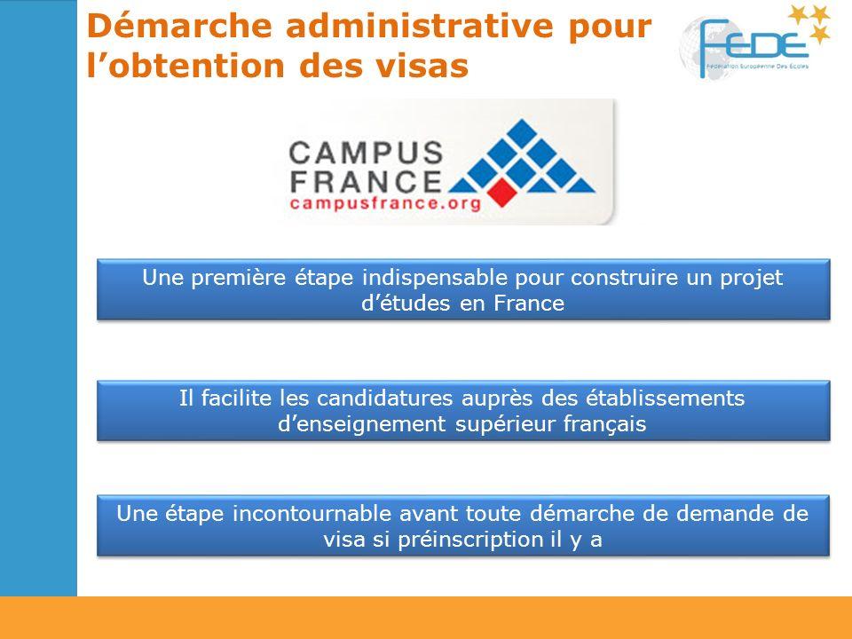 Démarche administrative pour lobtention des visas Une première étape indispensable pour construire un projet détudes en France Une étape incontournabl