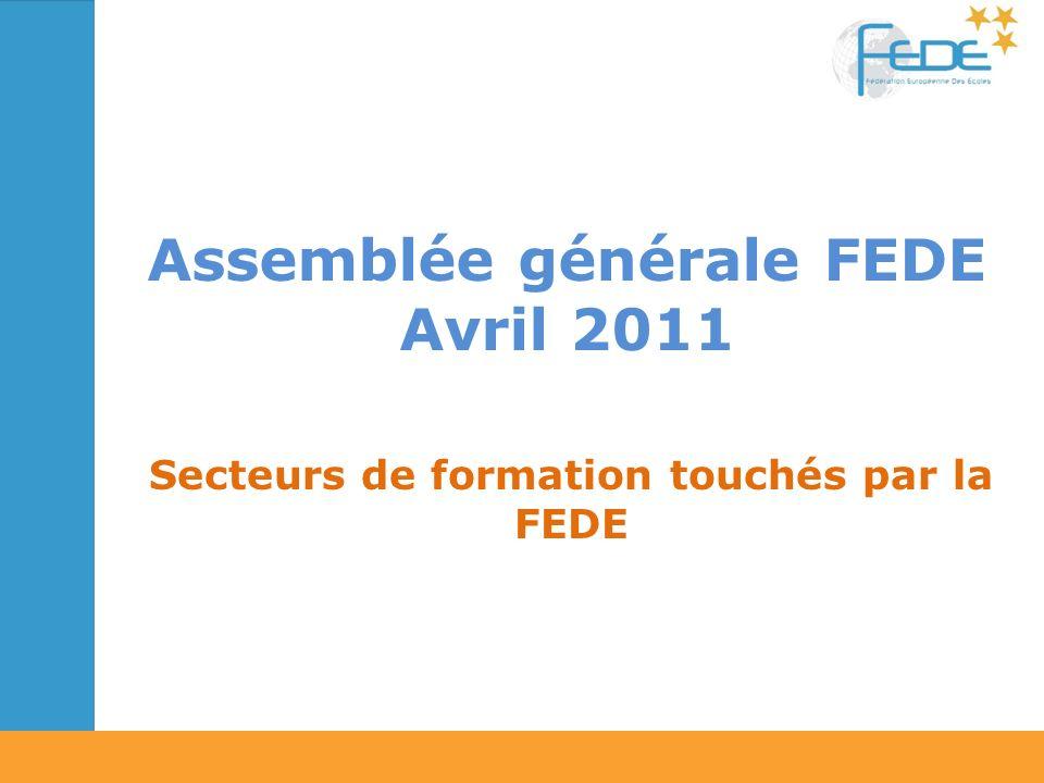 Assemblée générale FEDE Avril 2011 Secteurs de formation touchés par la FEDE