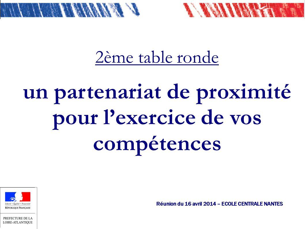 Réunion du 16 avril 2014 – ECOLE CENTRALE NANTES 2ème table ronde un partenariat de proximité pour lexercice de vos compétences