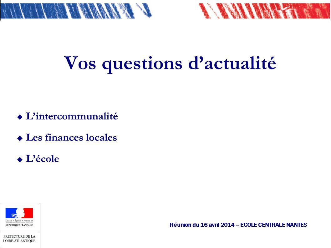 Lintercommunalité Les finances locales Lécole Vos questions dactualité