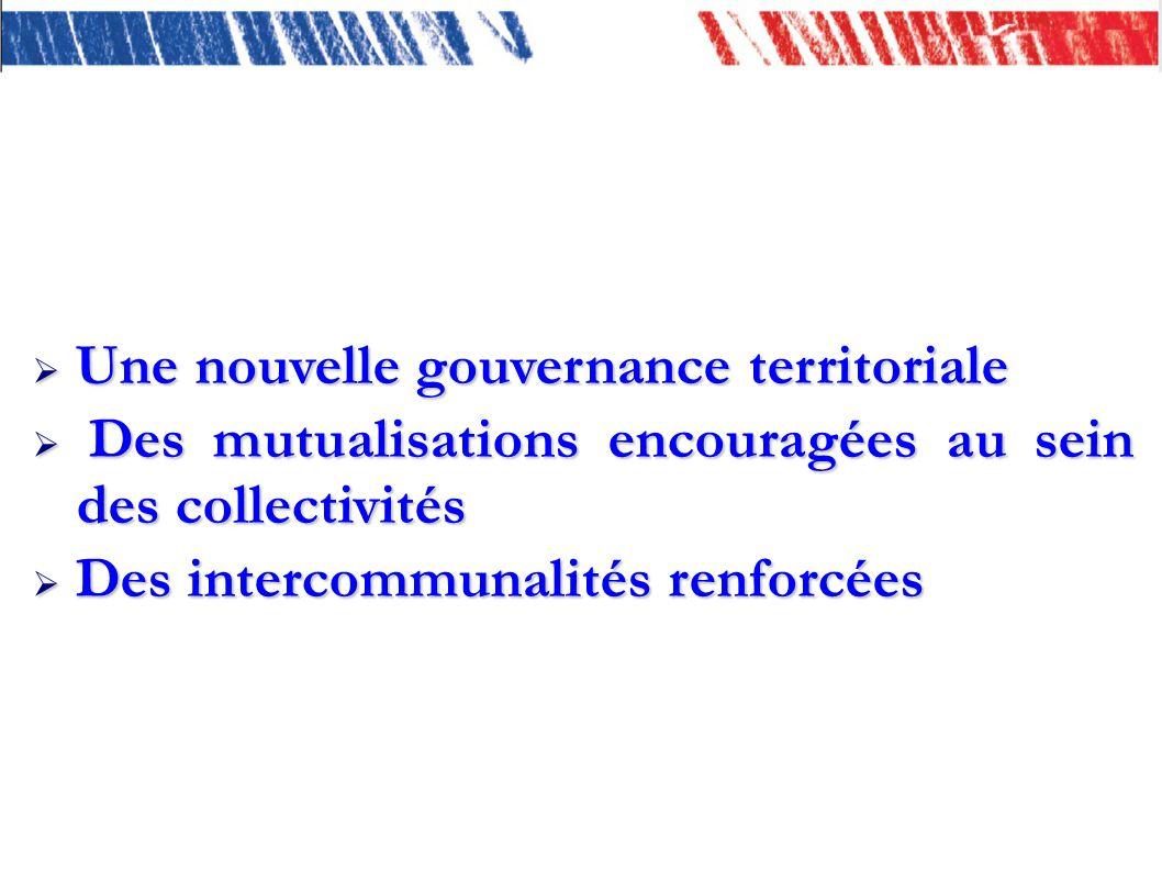 Une nouvelle gouvernance territoriale Une nouvelle gouvernance territoriale Des mutualisations encouragées au sein des collectivités Des mutualisations encouragées au sein des collectivités Des intercommunalités renforcées Des intercommunalités renforcées