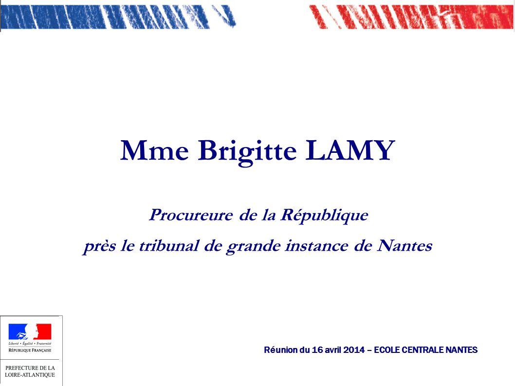 Mme Brigitte LAMY Procureure de la République près le tribunal de grande instance de Nantes Réunion du 16 avril 2014 – ECOLE CENTRALE NANTES