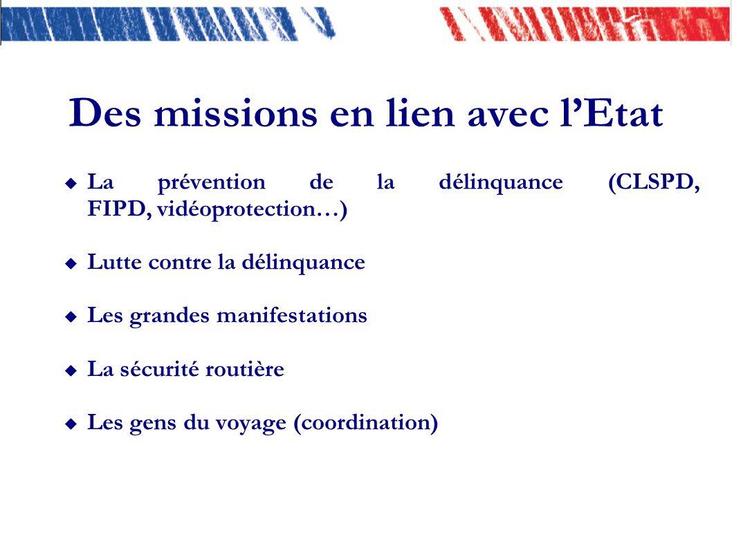 Des missions en lien avec lEtat La prévention de la délinquance (CLSPD, FIPD, vidéoprotection…) Lutte contre la délinquance Les grandes manifestations La sécurité routière Les gens du voyage (coordination)