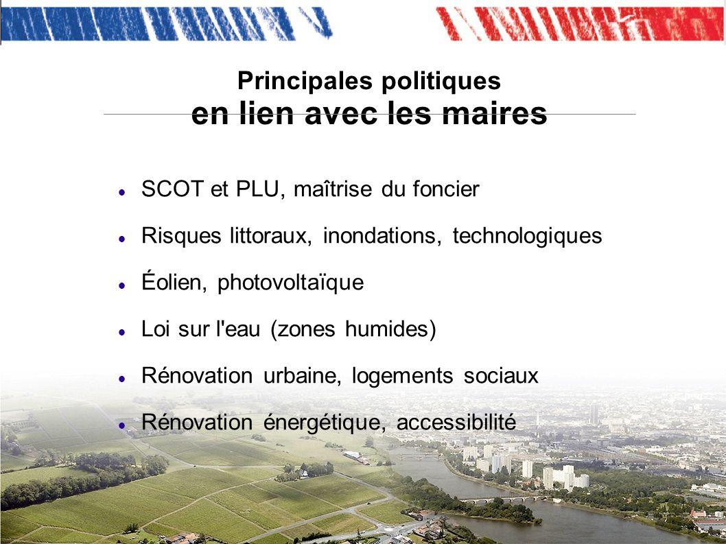 Principales politiques en lien avec les maires SCOT et PLU, maîtrise du foncier Risques littoraux, inondations, technologiques Éolien, photovoltaïque Loi sur l eau (zones humides) Rénovation urbaine, logements sociaux Rénovation énergétique, accessibilité