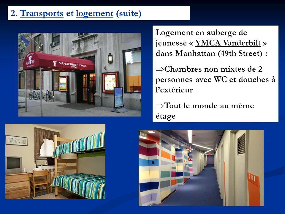 2. Transports et logement (suite) Logement en auberge de jeunesse « YMCA Vanderbilt » dans Manhattan (49th Street) : Chambres non mixtes de 2 personne