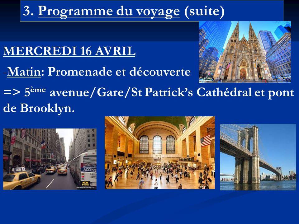 3. Programme du voyage (suite) MERCREDI 16 AVRIL -Matin: Promenade et découverte => 5 ème avenue/Gare/St Patricks Cathédral et pont de Brooklyn.