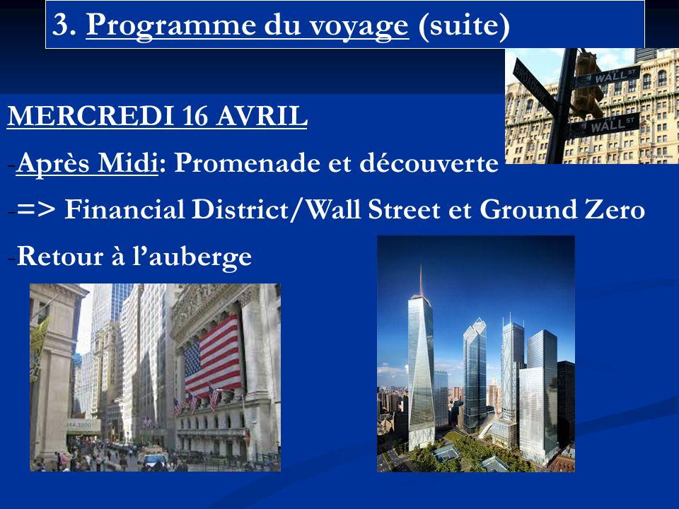 3. Programme du voyage (suite) MERCREDI 16 AVRIL -Après Midi: Promenade et découverte -=> Financial District/Wall Street et Ground Zero -Retour à laub