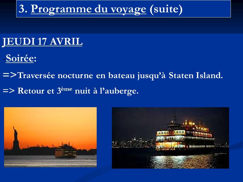 3. Programme du voyage (suite) JEUDI 17 AVRIL -Soirée: => Traversée nocturne en bateau jusquà Staten Island. => Retour et 3 ème nuit à lauberge.