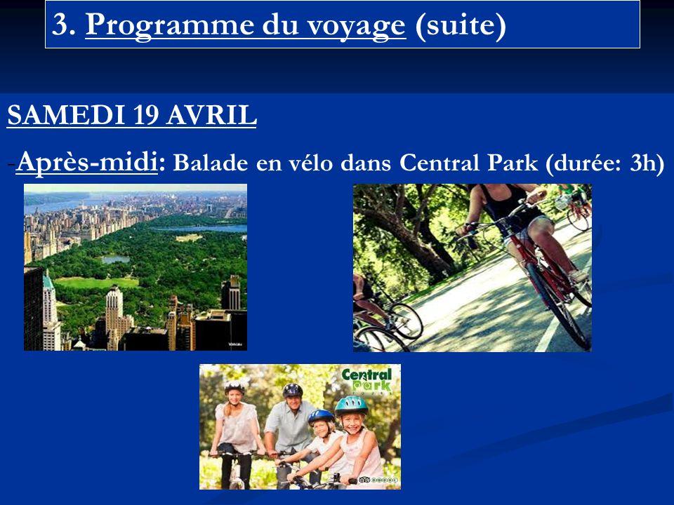 3. Programme du voyage (suite) SAMEDI 19 AVRIL -Après-midi: Balade en vélo dans Central Park (durée: 3h)