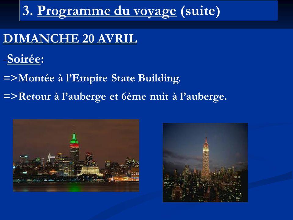 3. Programme du voyage (suite) DIMANCHE 20 AVRIL -Soirée: =>Montée à lEmpire State Building.